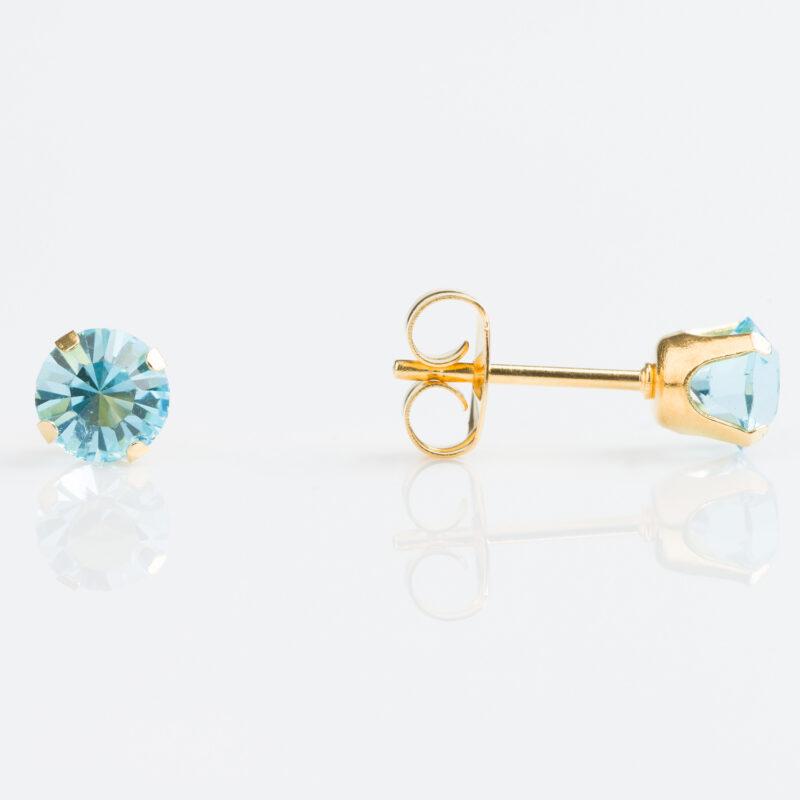 Gold Plated Tiffany 5mm – March Aquamarine