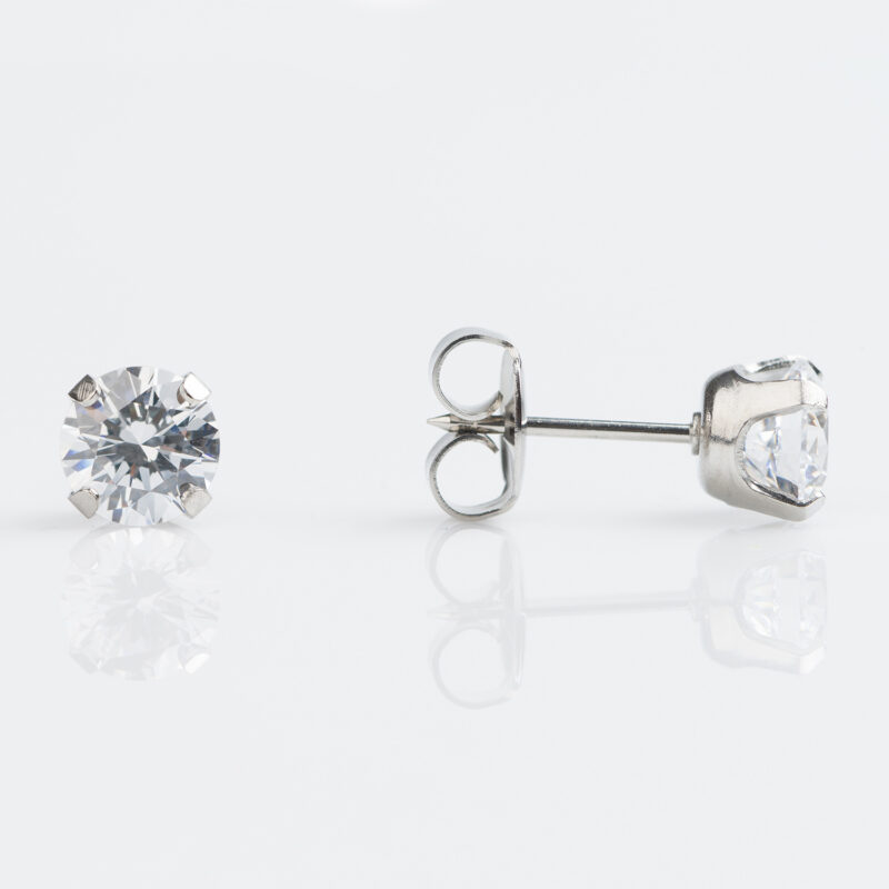 Stainless Steel Tiffany 6mm Cubic Zirconia