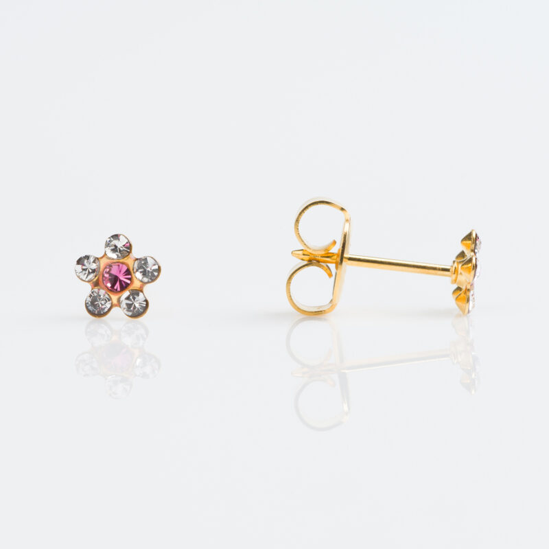 GOLD PLATED DAISY CRYSTAL – ROSE